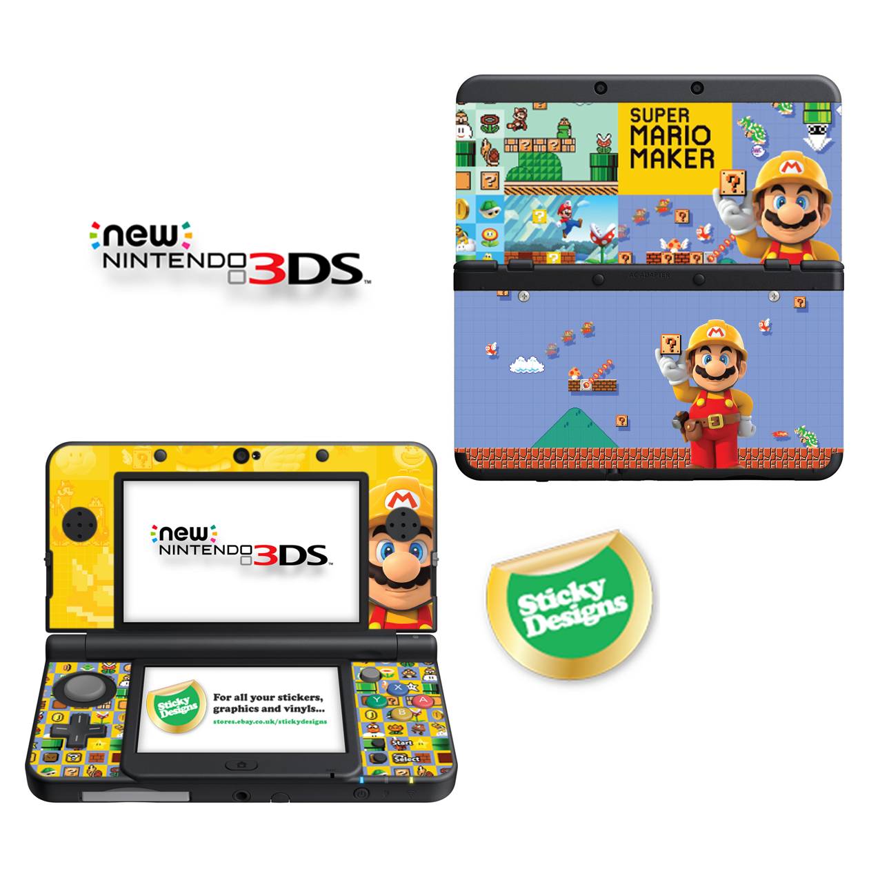 super mario maker vinyl skin sticker for new nintendo 3ds with c high quality vinyl skin sticker for new nintendo 3ds with c stick and replaceable cover plates depicts high quality imagery of super mario maker