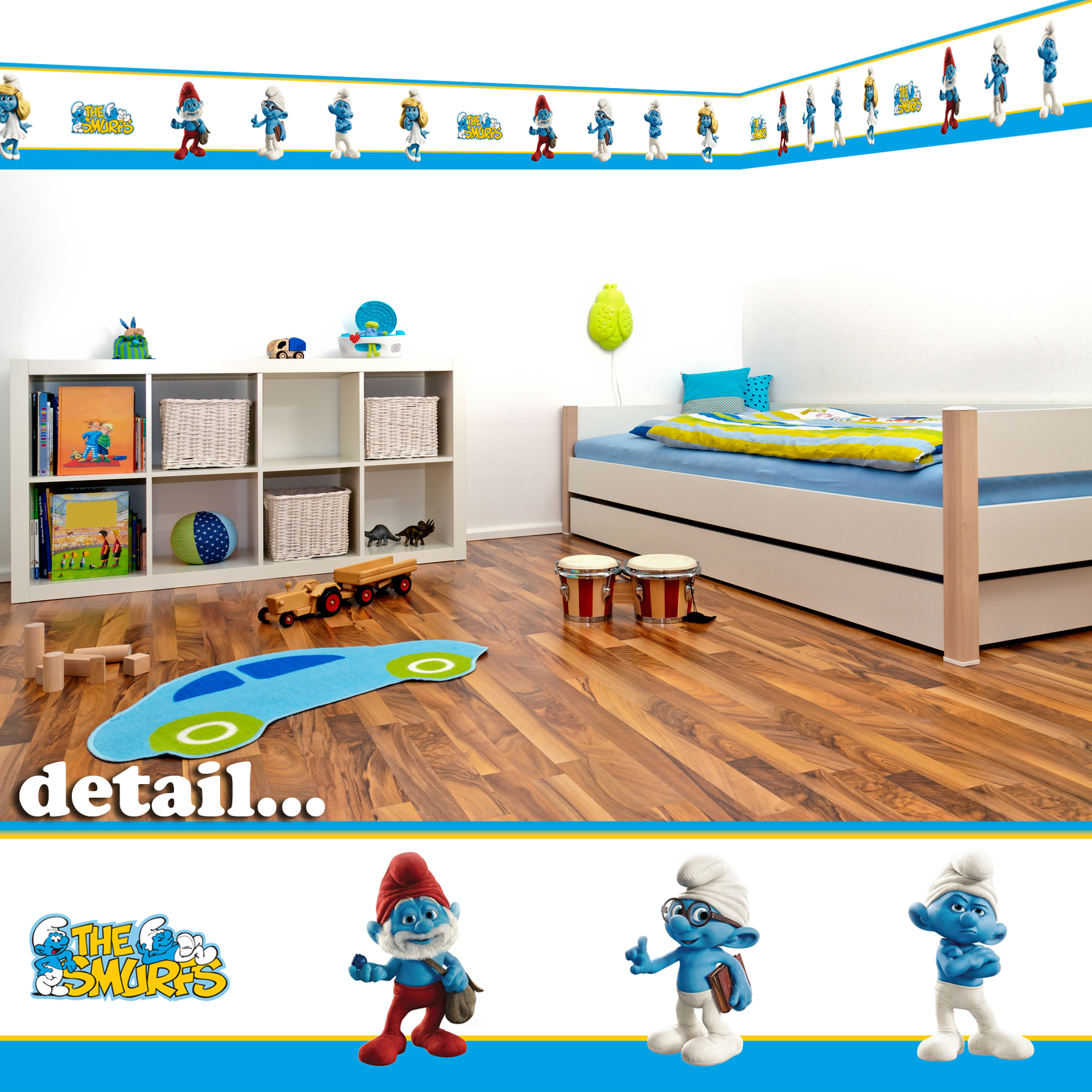 Details about Smurfs Self Adhesive Decorative Wall Border - 5m - Children\'s  Bedroom/Playroom