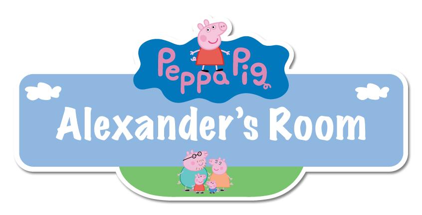 Peppa Pig Personalised Name Plate Door Sticker