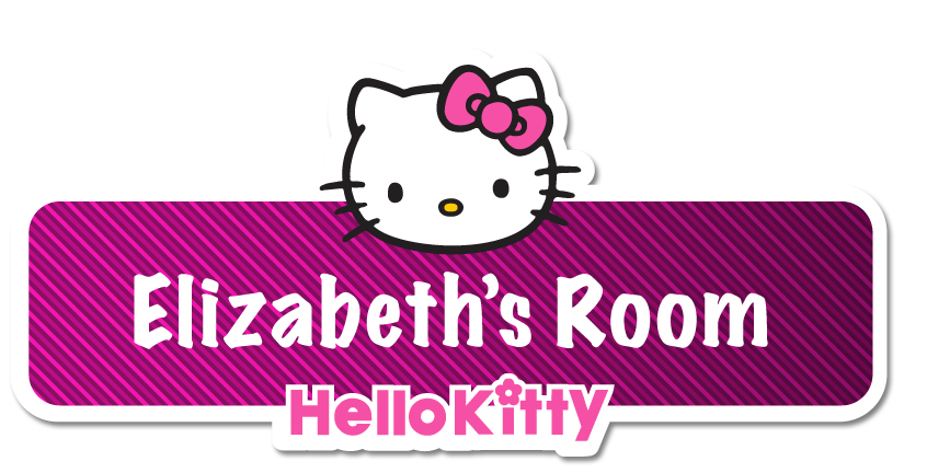 Details about hello kitty personalised name plate door sticker